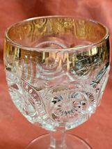 "Antique Goblet Glass Gold Trim EAPG Star in Bullseye Water Pressed 5 3/4"" image 3"