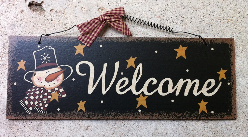 Welcome Snowman Plaque