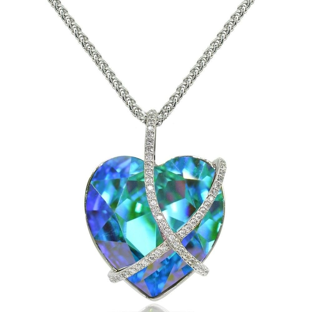 "Bermuda Blue Criss Cross Engraved ""A Kiss for My Love"" Heart Necklace made w"
