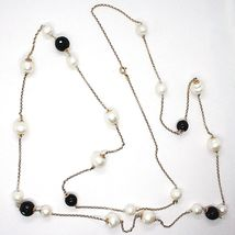 Necklace Silver 925 Pink,Onyx Black,Pearls,Long 130 cm,Chain Rolo ' ,2 Turns image 4