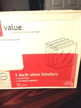 Office Depot Brand 1 inch View Binders White round rings Value pack 12 c... - $12.19