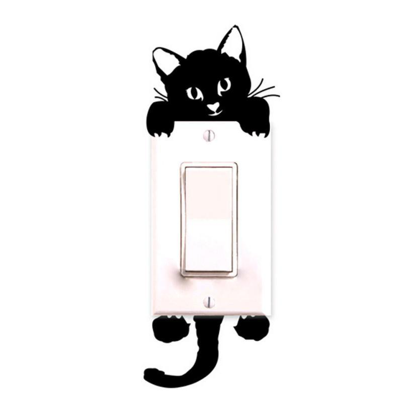 Diy funny cute black cat switch decal wallpaper switch sticker home decoration bedroom kids room