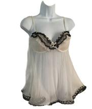 Jezebel Sexy Lingerie Babydoll Nightie Padded Underwire Size M White Bla... - $11.26