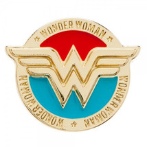 DC Comics Wonder Woman Colored WW Logo and Name Metal Pewter Lapel Pin UNUSED - £6.56 GBP