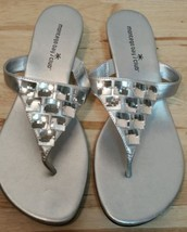 Montego Bay Club Women's Silver Thong Flip Flop Crystals Sandals Shoes S... - $24.18