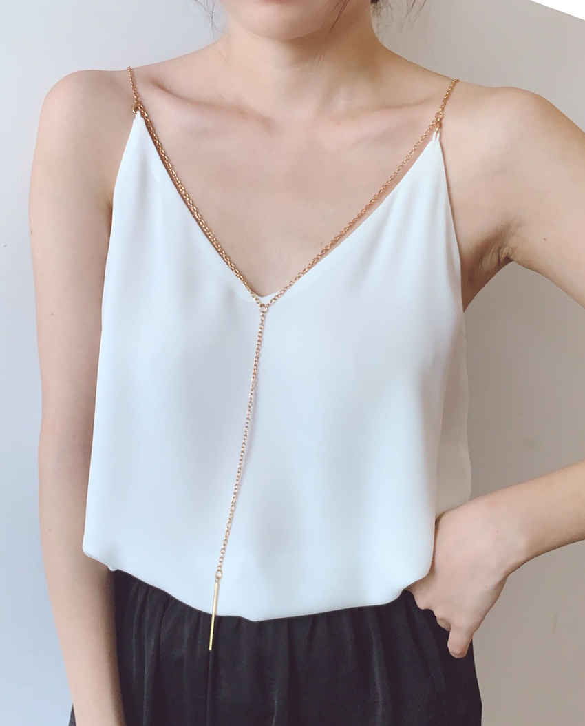 Women's White Party Chiffon Tops Sleeveless V neck Chiffon White Party Top Chain