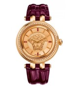 Versace Women's VQE060015 Khai Gold Ip Pink Leather Wristwatch - $2,586.31