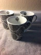 (3)  CYNTHIA ROWLEY COFFEE MUGS / CUPS--BLACK / WHITE ---FREE SHIP---VGC - $25.99