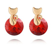 Small Cat Ear Studs    gold plated red zircon - $9.89