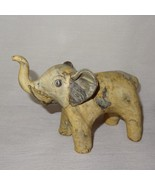 "Elephant Marbled Clay Figurine Cream Gray  4"" - $16.89"