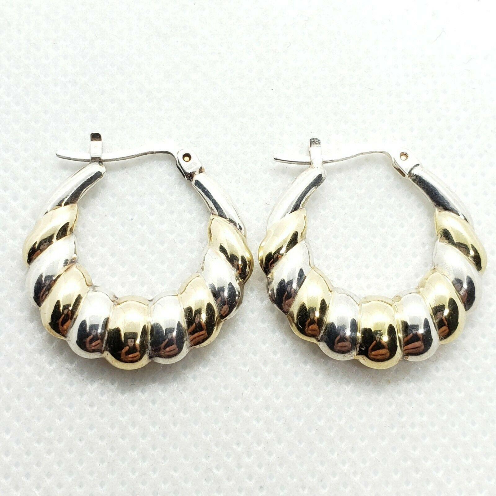 Primary image for SETA Sterling Silver 925 Ribbed C-Hoop Earrings FREE Shipping