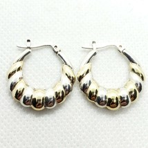 SETA Sterling Silver 925 Ribbed C-Hoop Earrings FREE Shipping - $14.99