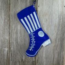 Vintage Christmas Stocking Ladies Victorian Boot Shoe Blue White Handmad... - $39.59