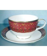 Royal Doulton Imperial Tea Cup & Saucer Red Banded Made in United Kingdo... - $28.90