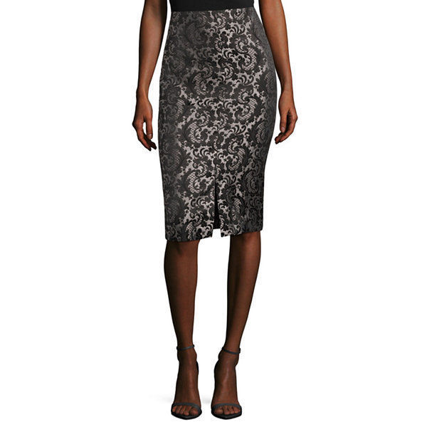 Worthington Pencil Skirt Black/Grey Jacquard Size 6 New Msrp $44.00