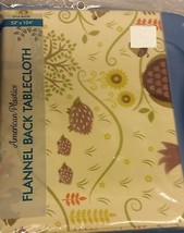 "RARE FLANNEL BACK VINYL TABLECLOTH 52"" x 104"", FOREST ANIMALS, HEDGEHOG,... - $18.80"