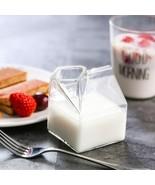 Milk Cup Creative 3D Glass Mini Carton Creamer For Breakfast Novelty Milk - $11.34