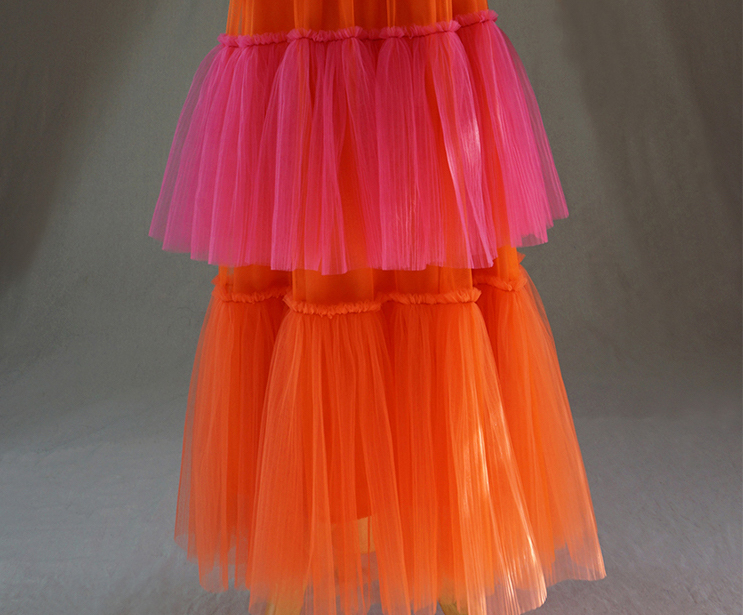 Womens Tiered Party Tulle Skirt Orange Pink Layered Mesh Tulle Party Prom Skirt