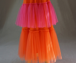 Womens Tiered Party Tulle Skirt Orange Pink Layered Mesh Tulle Party Prom Skirt image 4