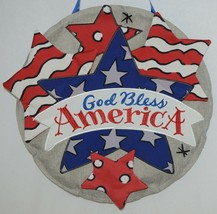 FabriCreations 2355 God Bless America Red White Blue Star Round Fabric Decor image 2