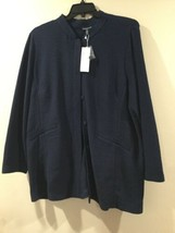 Eileen Fisher Textural Cotton Tencel Stretch Jacket, Midnight,1X NWT - $133.44