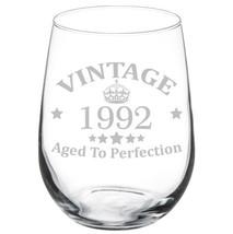 Vintage Aged To Perfection 1992 26th Birthday Funny Gift Wine Glass - $15.99