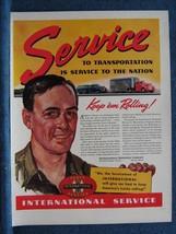 International Harvester Truck Service  WW2 Patriotic Ad Print ~ KEEP 'EM... - $8.70