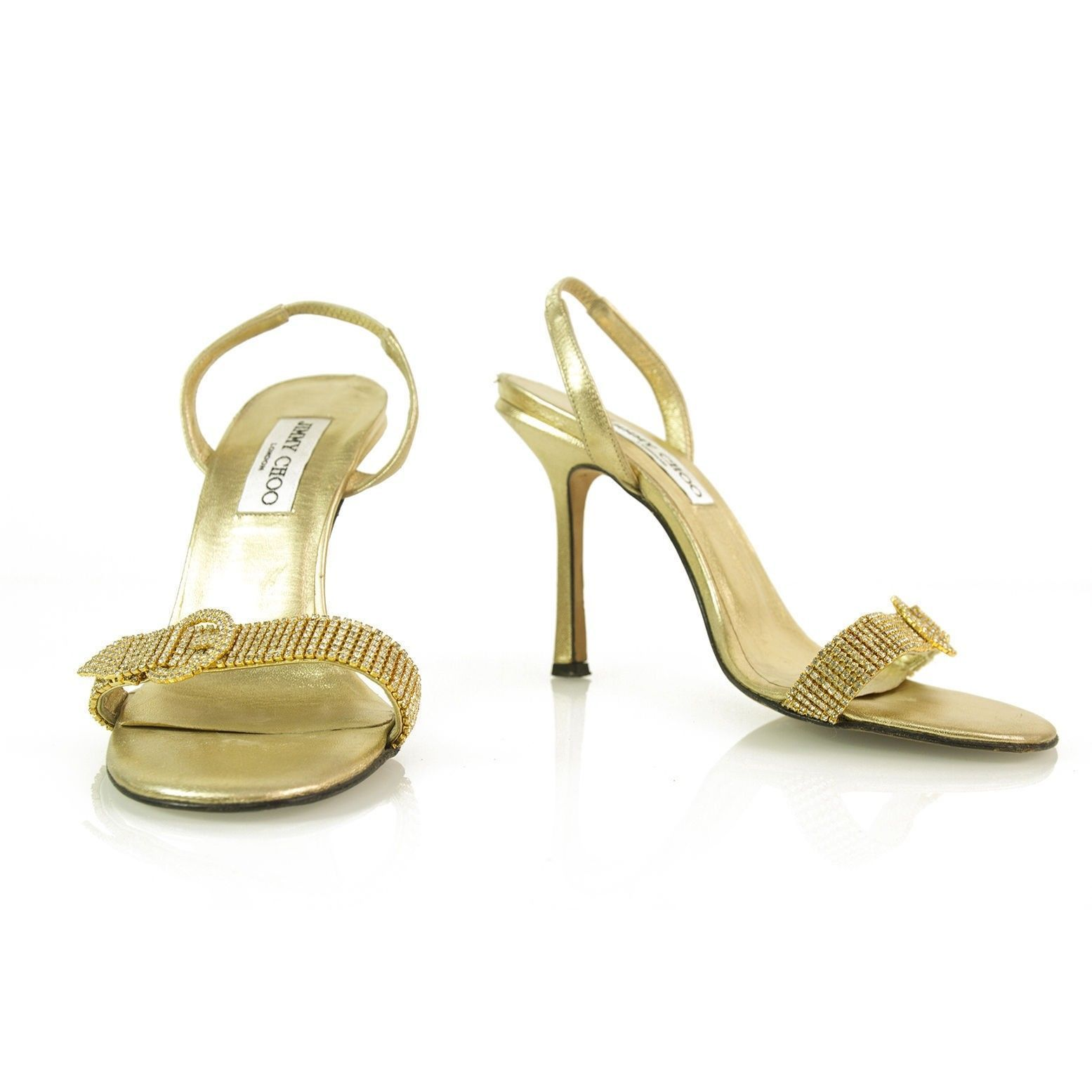 Authentic Jimmy Choo Gold w/ Crystals & Buckle Slingback Leather Sandals -Sz37.5