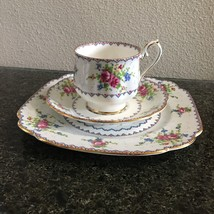 """Royal Albert petit point china england trio cup and saucer and 8"""" lunch ... - $21.76"""