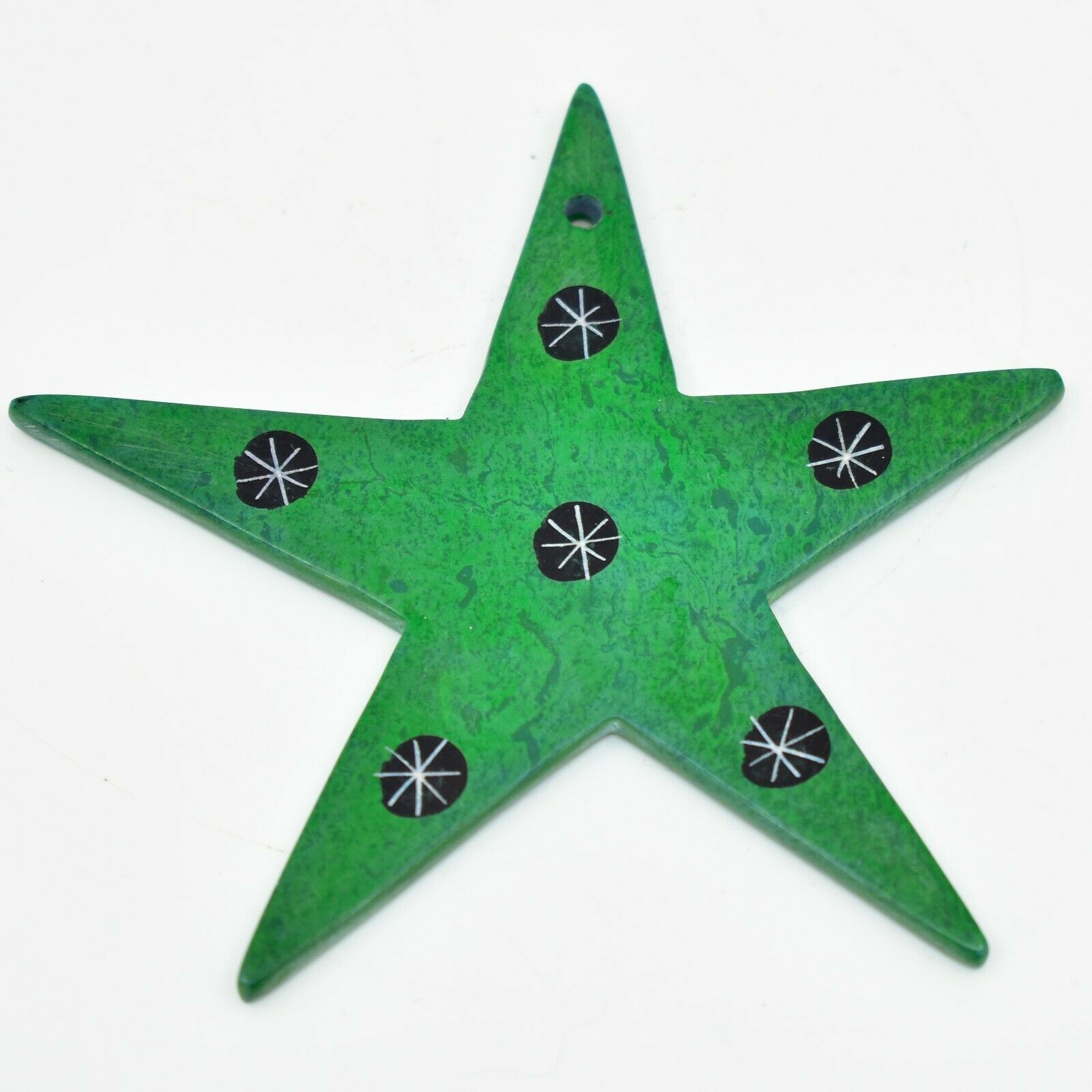 Tabaka Chigware Hand Carved Kisii Soapstone Green Star Christmas Tree Ornament