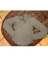 Lululemon GREY FITTED Jacket 2 YELLOW TRIM LIGHTWEIGHT FULL FRONT ZIP DE... - $49.50