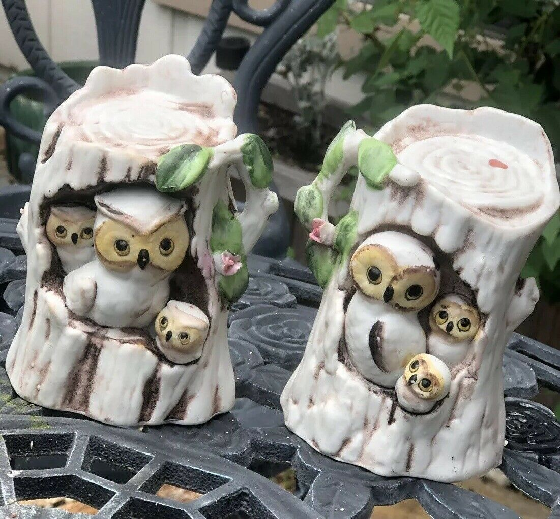 Vintage Owl Family-Mom, Dad And Owlets in Tree Trunks Ceramic Matching Set Of 2