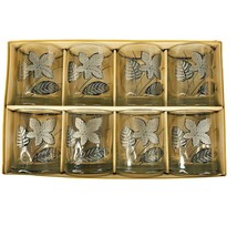 8 Libbey Platinum Leaves Glasses Old Fashioned Rocks Hostess Glassware Silver  - $39.45
