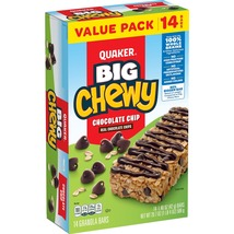 Quaker Big Chewy Granola Bars, 60% Larger, Chocolate Chip, (14 Pack) - $10.00