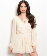 Sexy Cream Party Cruise Short Polyester Long Split Sleeve Romper Jrs S, ... - $26.99