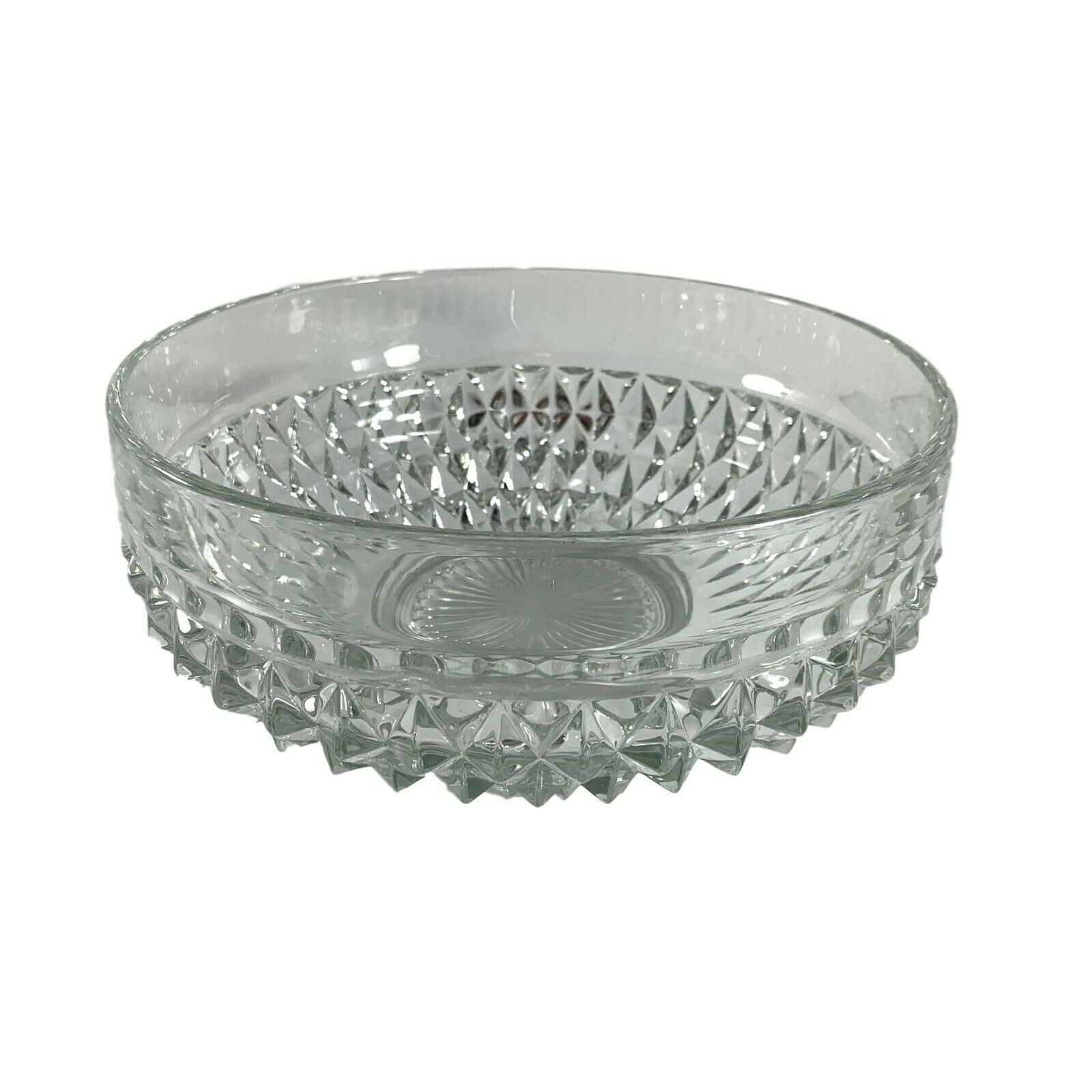 """Indiana Glass Bowl Clear Diamond Point Serving Salad Centerpiece 9 1/2"""" Heavy - $24.75"""