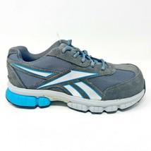 Reebok Work Ketia Grey Blue Oxford Womens Composite Toe Shoes RB446 - $39.95