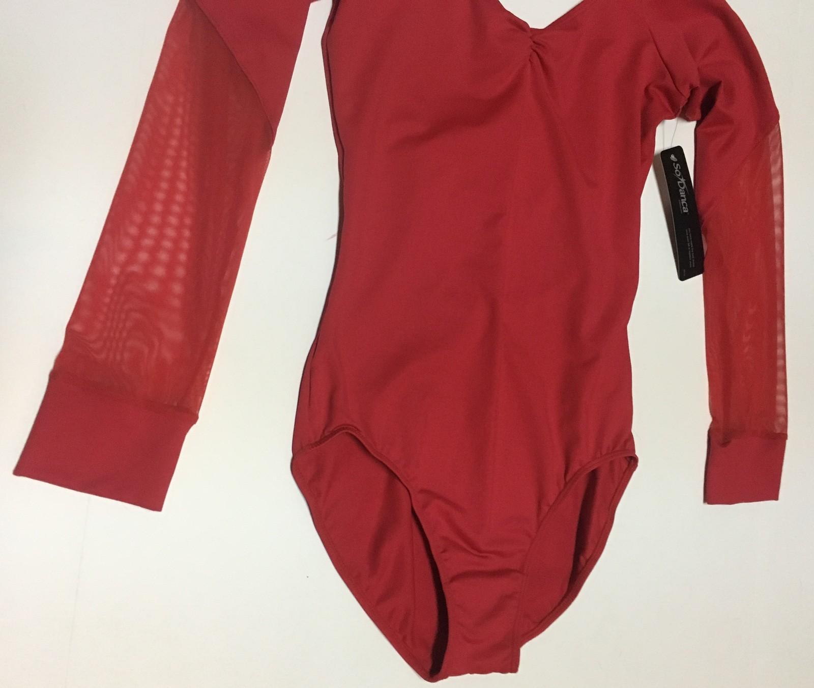 So Danca Long Sleeve Red Leotard Dancewear NWT Sz 6L Lower Sheer Sleeves