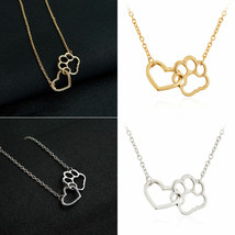 USA Women Fashion Pet Lover Dog Cat Paw Print Pendant Heart Necklace Chain Gift image 2