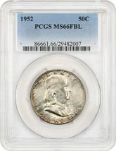 1952 50c PCGS MS66 FBL - Pretty Reverse Toning - Franklin Half Dollar - $266.75
