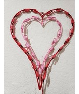 "VALENTINES DAY DOUBLE HEART WINDOW LIGHTED DECORATION RED/PINK 16"" X 13""... - $18.99"