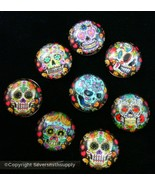 8 Calavera Cabujones Invertida Vidrio 14mmx5mm Multicolor Abovedado gbs074 - $3.95