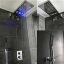 Gordola Waterfall Chrome Wall Mounted LED Rain Bathroom Shower Head Set - $2,290.00