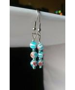Handmade Blue Millefiori Glass Dangle Earrings - New - $8.99