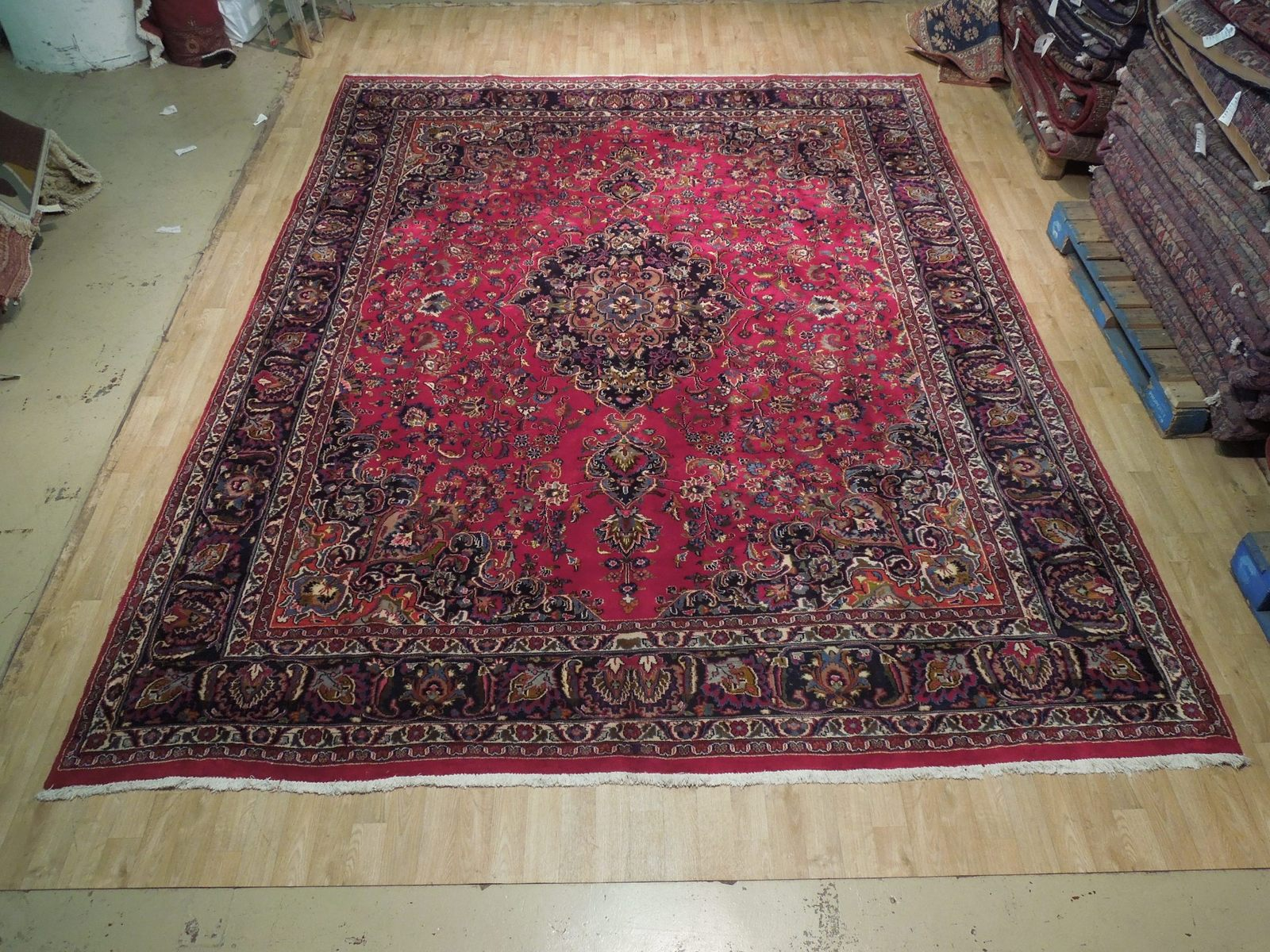 Red Wool Rug 10' x 12' Scarlet Vivid Original Traditional Persian Handmade Rug image 4