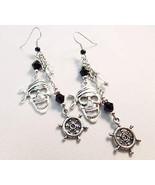 Pirate Cluster Charm Earrings Black and Clear Handmade - $20.00