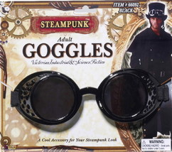 SteamPunk Cosplay Victorian Style Black Industrial Goggles, NEW UNUSED - $11.64