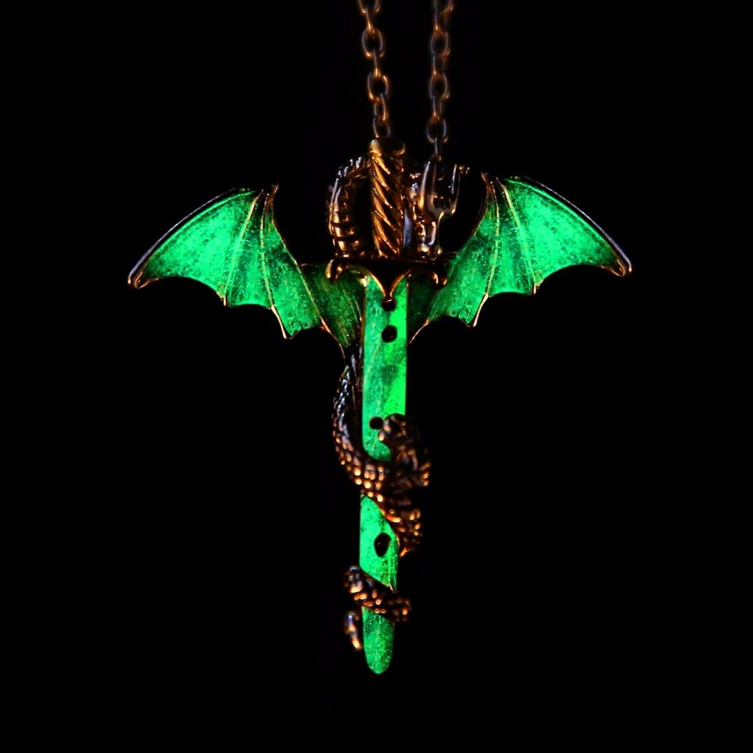 glow in the dark chain necklaces shellhard luminous sword dragon pendant necklace for mens punk