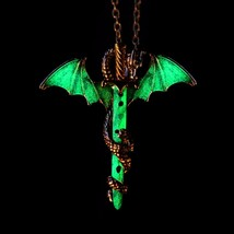 The dark chain necklaces shellhard luminous sword dragon pendant necklace for mens punk thumb200