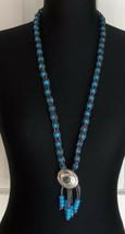 Southwestern Blue Beaded Silver Tone Bolo Tie Tassel Necklace - $7.91